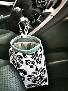 DIY car trash bag - Tutorial included! This one was made by my mom for me for a Christmas Gift