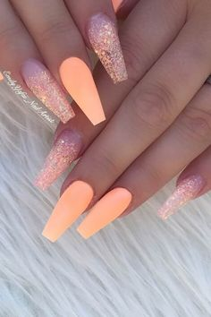 Cute Orange Nail Idea for Coffin Nails Nails 23 of the Best Orange Nail Art Ideas and Designs Nail Art Orange, Orange Nail Designs, Short Nail Designs, Acrylic Nail Designs, Unique Nail Designs, Orange Ombre Nails, Colorful Nail Designs, Summer Acrylic Nails, Best Acrylic Nails