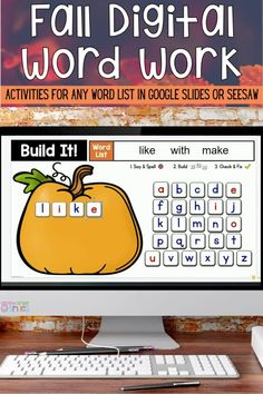 This digital work word center set includes seven fall-themed interactive word work activities for any list in Google Slides or Seesaw with moveable letter pieces. Use them again and again with any spelling list, sight word list, or high-frequency word list. These fun activities are ideal for both distance learning and everyday classroom use in the primary grades. My second grade class loves them! Seven Falls, Digital Word, Sight Words List, Spelling Lists, Word Work Activities, High Frequency Words, Seesaw, Autumn Theme, Second Grade