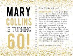 30 messages from 30 friends Birthday Treat Bags, 70th Birthday Parties, 60th Birthday Party, Mom Birthday, Birthday Celebration, Birthday Wishes, Birthday Postcards, Milestone Birthdays, Birthday Decorations