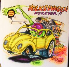 JOHNNY ACE Ed Roth Rat Fink AIRBRUSHED MONSTER SHIRT VOLKSWAGEN Bug VW DRAGSTER! #JohnnyAceStudiosEdBIGDADDYRoth