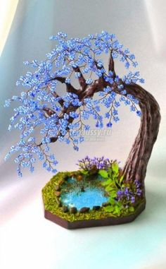 Valentine Red Wire Bonsai Tree on Selenite Sphere Sculpture - For Mental Clarity Polymer Clay Crafts, Wire Crafts, Bead Crafts, Diy And Crafts, Polymer Clay Fairy, Summer Crafts, Beading Projects, Beading Tutorials, Beading Patterns