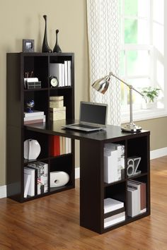 Espresso shelves + hobby desk in one // good for a crafting or homework station #furniture_design