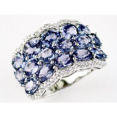 Ladies Diamond & Sapphire Ring in 14K White Gold (TCW  6.30).