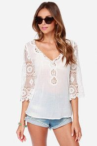 Sheerful Elegance Ivory Lace Top