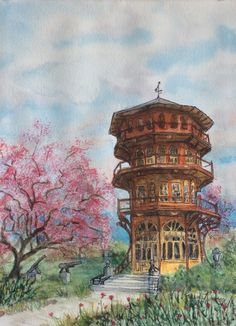 """""""Patterson Park Pagoda"""", watercolor and ink, 10.5X 14.5"""". Giclée prints on Etsy $60. @2017 Karen Raukko Ruberry All art is the property of artist Karen Raukko Ruberry and may not be reproduced, resold, or used in any form.  Etsy address: https://www.etsy.com/shop/RuberryArtPatch"""