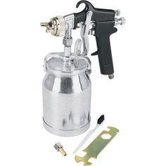 The Titan siphon feed spray gun features a fluid nozzle and needle, making it ideal for spraying heavier materials. Paint Sprayer Reviews, Best Paint Sprayer, Painting Tools, Diy Painting, Hvlp Sprayer, Garage Tools, Garage Ideas, Thing 1, Air Tools
