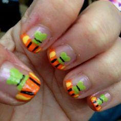 Goofy French Tip nail art, Disney nails.