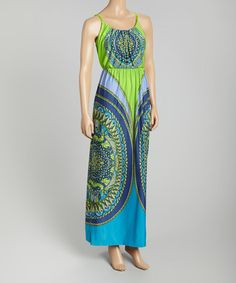 Loving this Blue & Green Scarf Print Blouson Maxi Dress on #zulily! #zulilyfinds