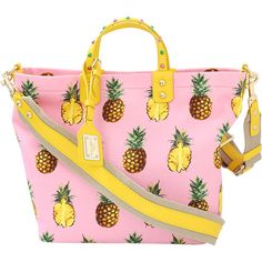 Dolce & Gabbana  Pineapple Canvas Tote (5.041.100 COP) ❤ liked on Polyvore featuring bags, handbags, tote bags, tote handbags, pink purse, pink handbags, pineapple tote and top handle handbags