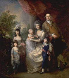 The Baillie Family c.1784, Thomas Gainsborough.     Group portraits    by Gainsborough are relatively rare. This large example shows the London merchant James Baillie (1737-1793), with his wife Colin Campbell, and their four young children. Baillie's wife had been given the Christian name of her father Colin Campbell of Glenure. Although a formal portrait, Gainsborough conveys the sense of an affectionate family.