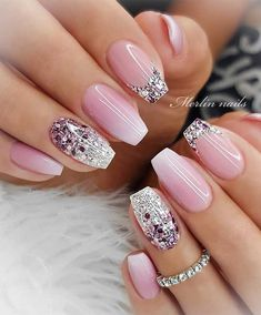 35 Pretty nail art designs for any occasion wedding nail designs for brides, nails with glitter, nails for wedding guest , glitter nail designs , nail trends 2020 Classy Nail Designs, Pretty Nail Designs, Pretty Nail Art, Elegant Nails, Stylish Nails, Elegant Bridal Nails, Bridal Nail Art, Best Acrylic Nails, Acrylic Nail Designs