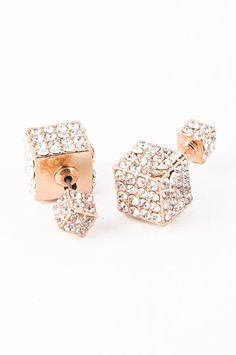 Double-Sided Cube Earrings (Gold)