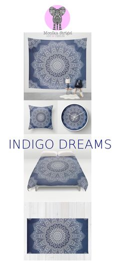 INDIGO DREAMS by Monika Strigel at Society 6  Pillows starting at $20  #indigo #navy #blue #trend #fall2015 #winter2015 #pantone #mandala #illustration #art #white #lace #hippie #boho #duvet #pillow #wallclock #tapestry #bohochic