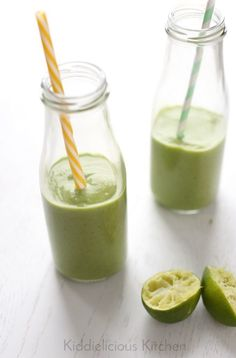 Kid-friendly green smoothie with avocado, spinach and lime