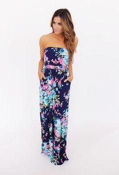 Navy Floral Tube Maxi Dress - Dottie Couture Boutique