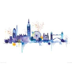 London skyline by summer blue wall art london & the uk лондон, рисунки Skyline Painting, Skyline Art, Skyline Von London, London Skyline Tattoo, London Tattoo, Watercolour Painting, Painting Prints, London Decor, Framed Art Prints