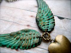 Feathered Large Colored Wing Pendant Locket  by MegsBrokenWings, $48.00