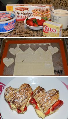 French Napoleons for valentines, silly treats Just Desserts, Delicious Desserts, Dessert Recipes, Yummy Food, My Funny Valentine, Valentines, Yummy Treats, Sweet Treats, Frozen Puff Pastry