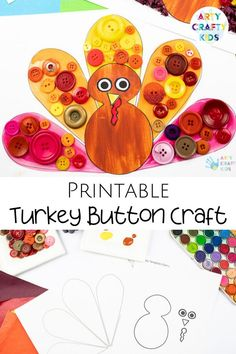 Looking for easy Thanksgiving turkey crafts for kids to make at home or preschool? These easy turkey crafts for kids are made with buttons + are simple for children to make with our printable turkey craft template. Get the turkey craft for kids printables + more Thanksgiving crafts for kids ideas here! Preschool Turkey Crafts for Kids | Make a Turkey Craft for Kids | Button Crafts for Kids | Turkey Kids Crafts | Thanksgiving Kids Crafts | Fall Button Crafts for Kids | Fall Crafts for Kids Turkey Turkey Crafts Preschool, Thanksgiving Crafts For Toddlers, Thanksgiving Games, Crafts For Kids To Make, Craft Activities For Kids, Kid Crafts, Toddler Activities, Button Crafts For Kids, Easy Arts And Crafts