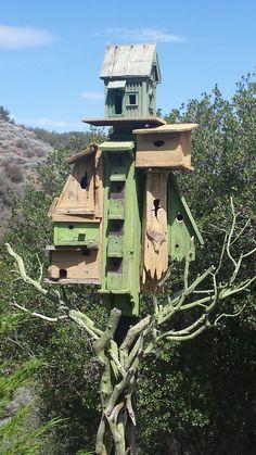 Birdhouses Bird House Feeder, Bird Feeders, Garden Yard Ideas, Garden Art, Home And Garden, Bee House, Decorative Bird Houses, Wild Birds, Bird Cage