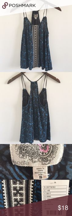 """🆕 UO Ecoté Boho Racerback Tank Navy bohemian racerback strappy tank/cami with an embroidered strip down the front.  Perfect for Coachella 💕  Stats (laying flat): Length: approx 23""""   Width (pit to pit): 16""""   100% Cotton   Brand: Ecoté  NWT   Machine wash cold   No trades Urban Outfitters Tops Tank Tops"""
