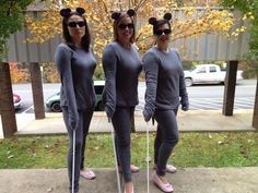 Stay comfy and warm with a Three Blind Mice sweatsuit costume. | 51 Cheap And Easy Last-Minute Halloween Costumes