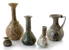 Five Roman glass vessels, Mediterranean, 1st-4th ct. A.D.