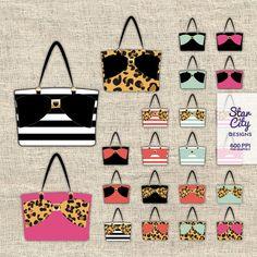 Tote Bag clipart Handbag clipart purse clipart by StarCityDesigns