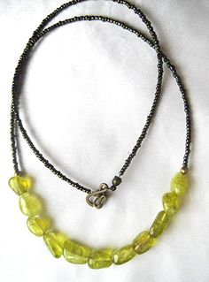 Peridot green ice crackle quartz necklace. Raw crystal matrix jewelry. Boho-style lime. Long necklace. Everyday style. by WildThingsAdornments