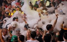 Spring Break revellers enjoy a foam party at a nightclub in Cancun, Mexico.