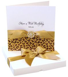 Leopard Print gold Animal Print Personalised Birthday Card