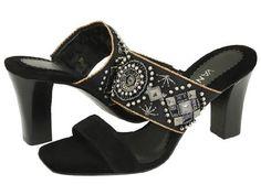 VANELi Satin Shoes Black Slide Sandal Dress Dance Heels Beads Ornate Womens Size 6.5