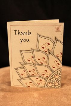 Zentangle Inspired Art Blank Thank You Card for Any Occasion.  Simply Cathy (c)2014 All rights reserved.