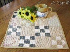 """Classic Country 1890s Postage Stamp DOLL Table Quilt 17 x 17"""""""