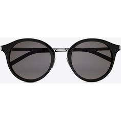 Saint Laurent Classic 57 Sunglasses ($365) ❤ liked on Polyvore featuring accessories, eyewear, sunglasses, yves saint laurent glasses, yves saint laurent eyewear, engraved glasses, rounded sunglasses and nose pads glasses