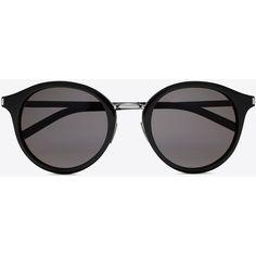 Saint Laurent Classic 57 Sunglasses (€330) ❤ liked on Polyvore featuring accessories, eyewear, sunglasses, lens glasses, round glasses, yves saint laurent eyewear, engraved glasses and round sunglasses