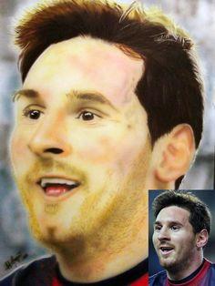 Lionel Messi - Aerografia e Lápis Pastel - 100x70cm