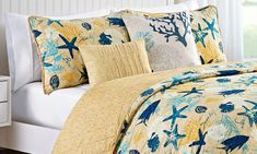 Blue Bedding Sets, King Comforter Sets, King Quilt Sets, King Size Quilt, Key West House, Yellow Quilts, House Quilts, Beach House Decor