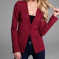VS Body by Victoria Lace Back Blazer NEW Victoria's Secret Body by Victoria lace back blazer in the gorgeous Oxblood color...beautiful lace detailing in back,would look super sexy with a nice bralette or cami..side pockets..one button closure..shoulder pads.. a gorgeous blazer that can be dressed up or down...whether it be with a pencil skirt or a skinny jean you will look on point in this fab jacket!..this is brand new and has never been worn!...it is 97%cotton 3% elastane giving the blazer…