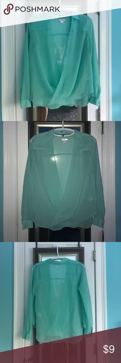 👗MINT DRAPEY TOP👗 ♡ ALL items in my closet are 100% authentic ♡ I trade! Just ask ♡ Don't like the price? Feel free to make me an offer 😊  Mint colored drapery top by Xhilaration. Size small, sheer material. Perfect for the summer time! Light, airy, and bright. Tops Blouses