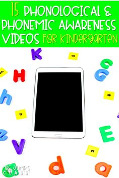 Use these 15 videos to support phonological and phonemic awareness in your classroom. Letter sounds, digraphs, CVC words, rhyming, and more! Kids will love these videos, especially number 5! #phonemicawarenessvideos #phonologicalawareness #kindergartenvideos