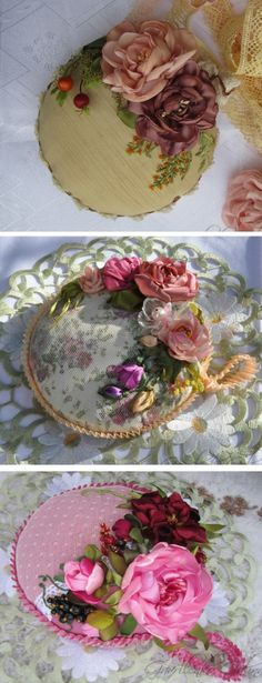 Love the pretty ribbonwork flowers on the pincushions! :)