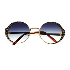 #cute #unique #floral #flower #metal #frame #retro #fashion #womens #vintage #circle #round #sunglasses #gold