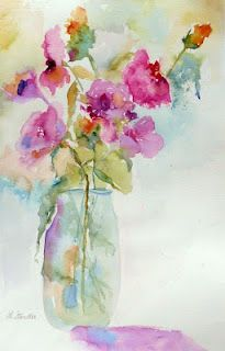 Watercolor Floral Painting, 12102 and the Arlington Museum of Art Show by Texas Artist Nancy Standlee