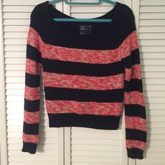 Sweater Orange and navy blue knit American Eagle Outfitters Sweaters Crew & Scoop Necks