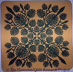 Monstera. (Maker not recorded). 1967. From Hawaiian Quilt Research Project, Honolulu Academy of Arts Collection.