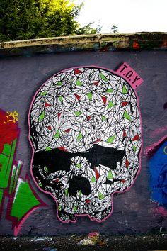 "Street art | Mural ""Skull"" by T.O.Y."