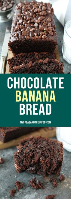 Chocolate Banana Bread is the BEST banana bread recipe! This easy quick bread tastes like chocolate cake! It is so moist and delicious! Everyone LOVES it! #bananabread #chocolate #bread