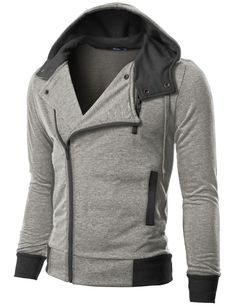 Doublju Mens Hood Zip Up with Asymmetry Zipper Gray